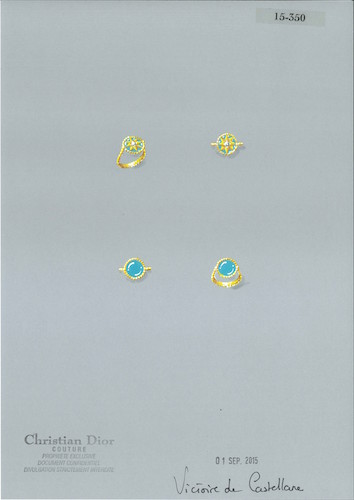 ROSE DES VENTS RING - YELLOW GOLD DIAMOND AND TURQUOISE - RECTO