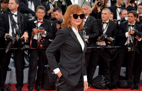 "CANNES, FRANCE - MAY 11: Actress Susan Sarandon attends the ""Cafe Society"" premiere and the Opening Night Gala during the 69th annual Cannes Film Festival at the Palais des Festivals on May 11, 2016 in Cannes, France. (Photo by Stephane Cardinale - Corbis/Corbis via Getty Images)"