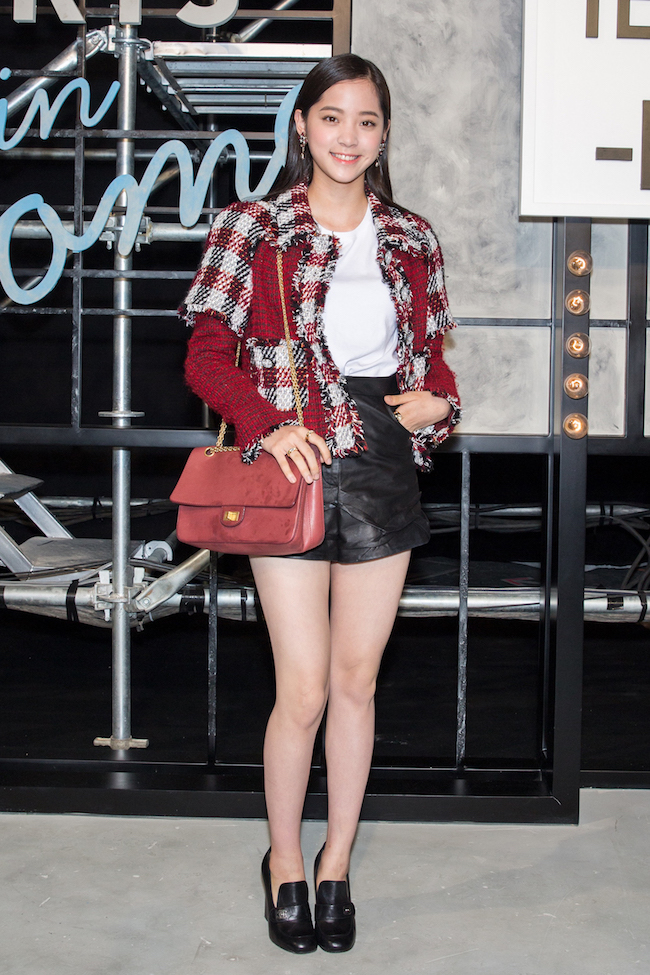 196db54dca Taiwanese musician & actress Ou-Yang NANA wore a red, black and grey tweed  jacket, look 24, from the Fall-Winter 2016/17 Ready-to-wear collection, ...