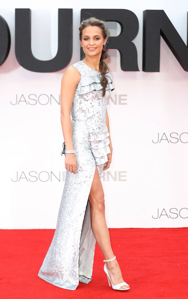 "LONDON, ENGLAND - JULY 11: Alicia Vikander arrives for the European premiere of ""Jason Bourne"" at Odeon Leicester Square on July 11, 2016 in London, England. (Photo by Mike Marsland/WireImage)"