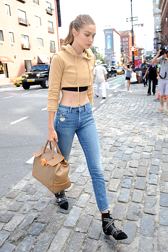 9f97891940 Gigi Hadid with the Versace Palazzo Empire Bag