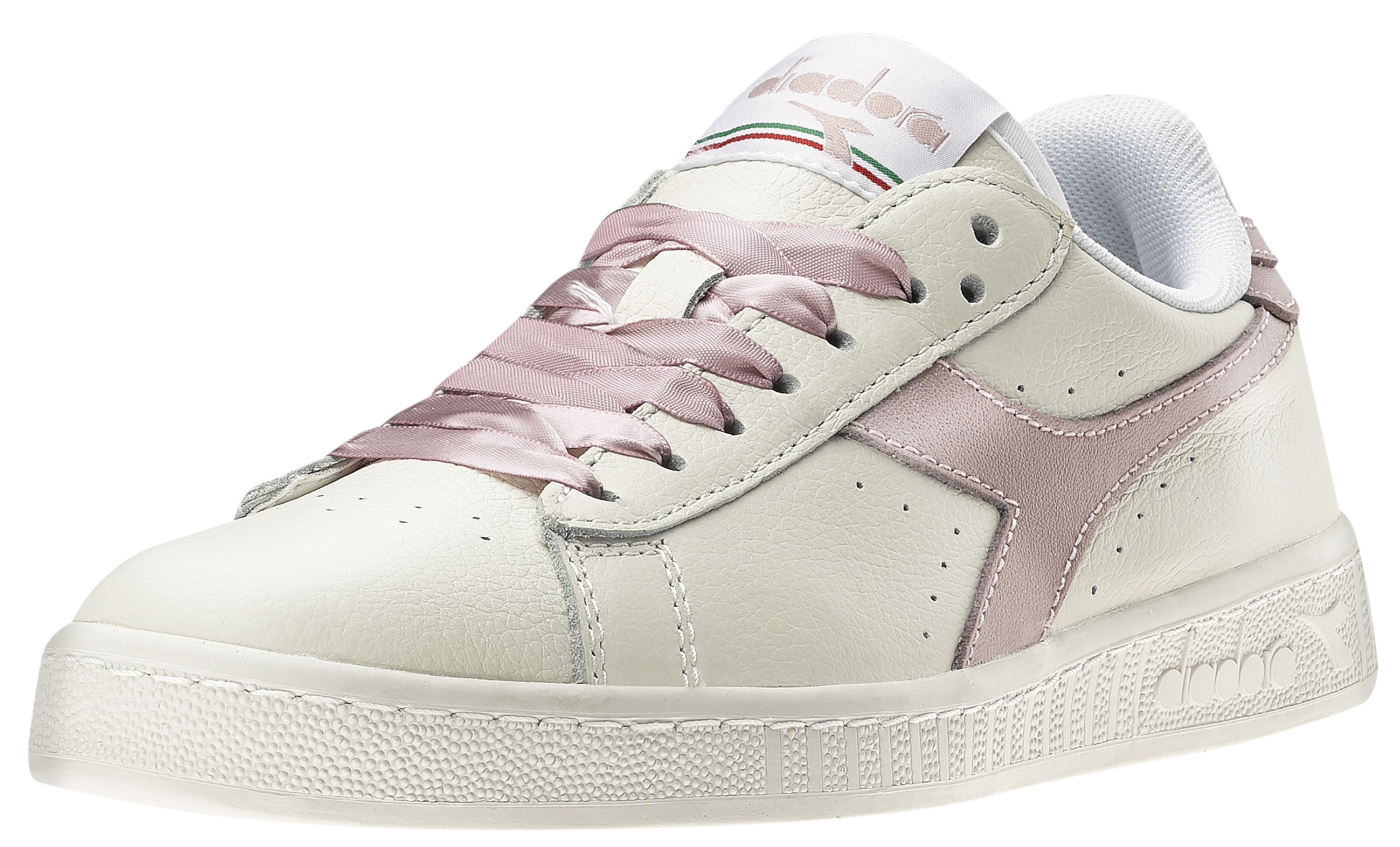 23de115f3594 ... aw lab  Diadora presents it s shoes line Game with white leather with  brand frieze and pink or ...