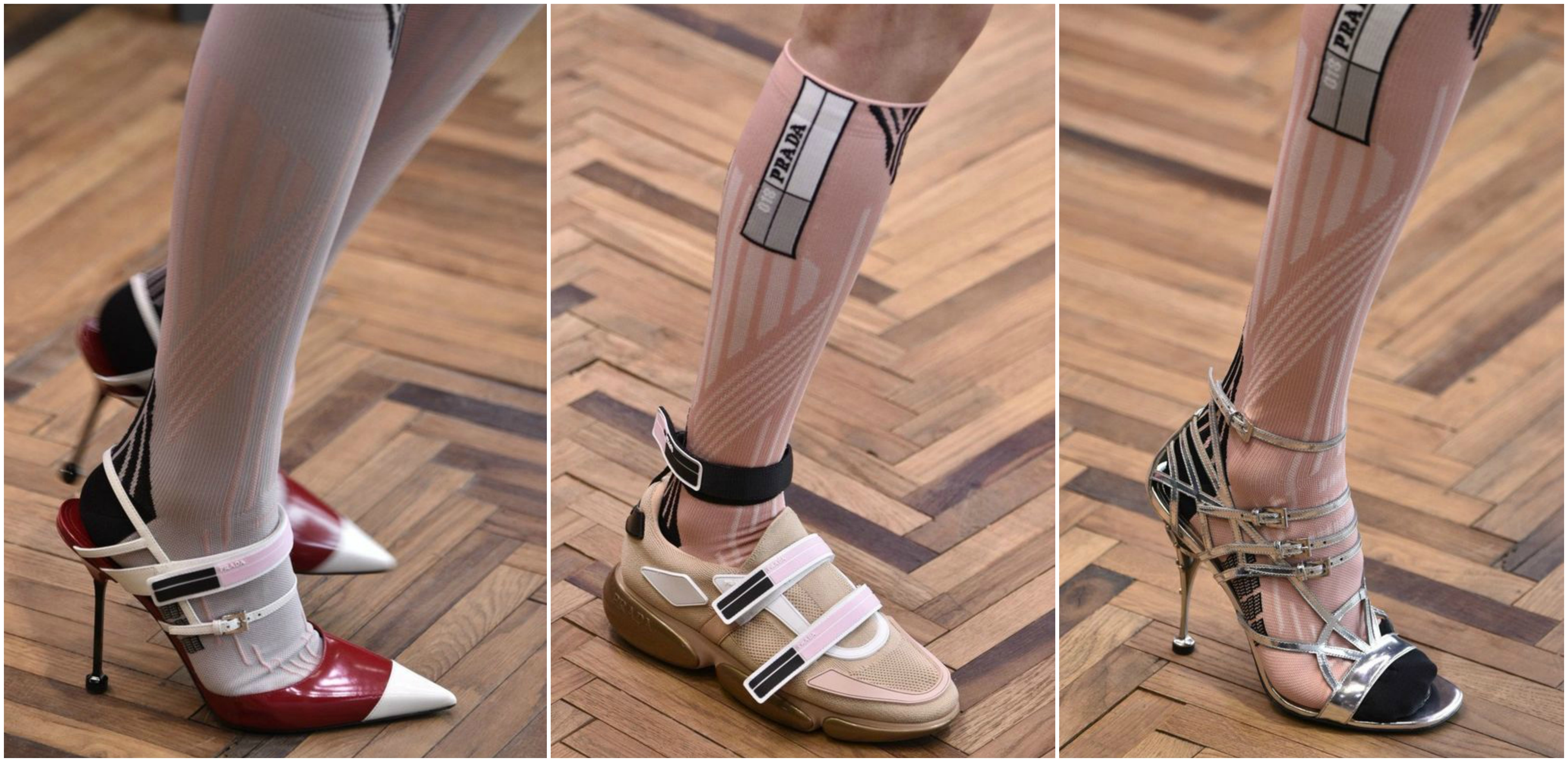 Prada. Straight lines and modern design reflects one of the best brands in the world collection. 2018 Spring and summer collection is more than unique.