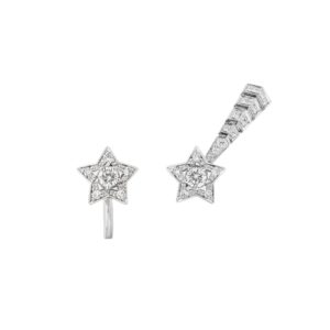 Shooting star earrings in 18k white gold and diamonds with two center diamonds