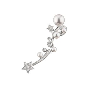 Shooting star single earring in 18k white gold, pearls and diamonds