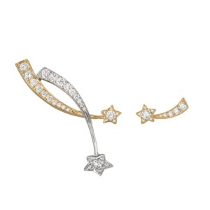 Shooting star earrings in 18k white gold, yellow gold and diamonds